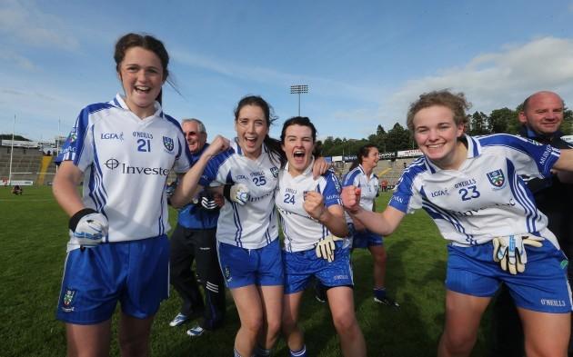 Muireann Atkinson, Muireann O'Rourke, Noleen McGuirk and Barbara Ward celebrate after the game
