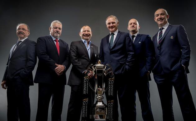 Jacques Brunel, Warren Gatland, Eddie Jones, Joe Schmidt, Gregor Townsend and Conor O'Shea