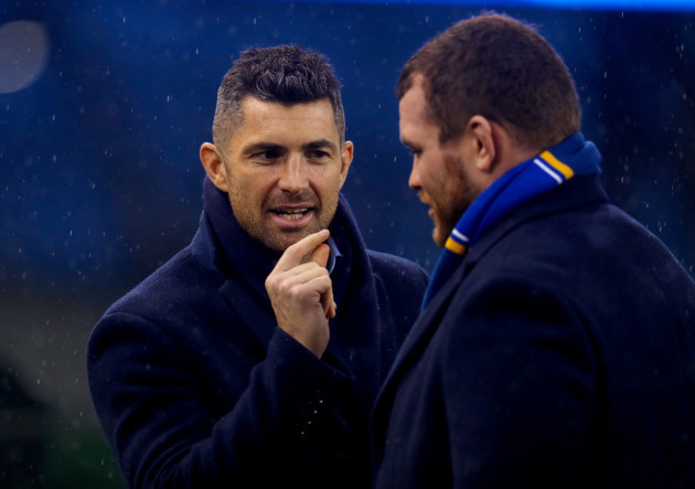 Rob Kearney and Jack McGrath during the pitch inspection