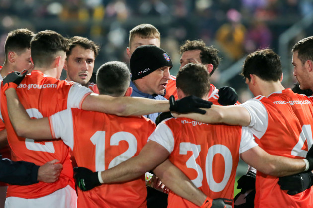 Kieran McGeeney in the team huddle