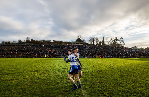 Conor McManus celebrates after the game with Stephen O'Hanlon