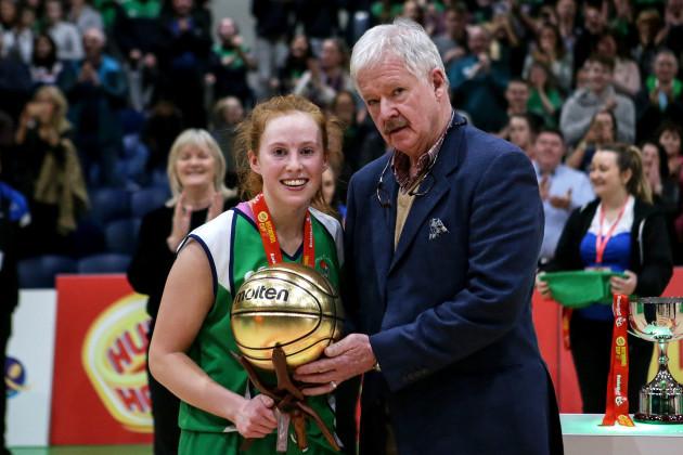 Sorcha Tiernan receives the MVP award by Seamus O'Connor