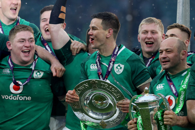 Tadhg Furlong, Johnny Sexton and Rory Best celebrate winning the grand slam