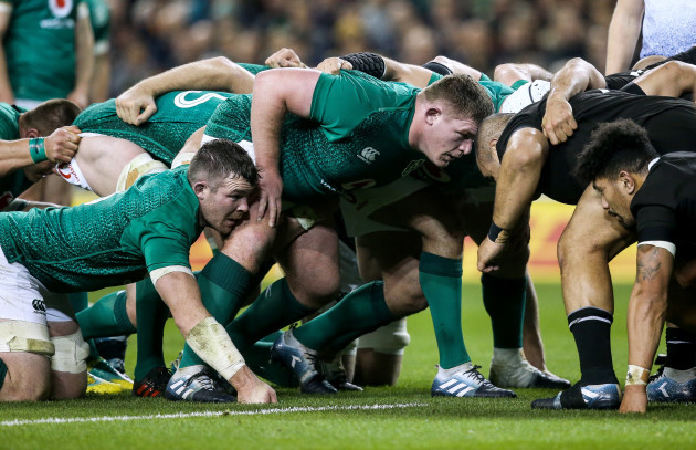 Peter O'Mahony and Tadhg Furlong during a scrum