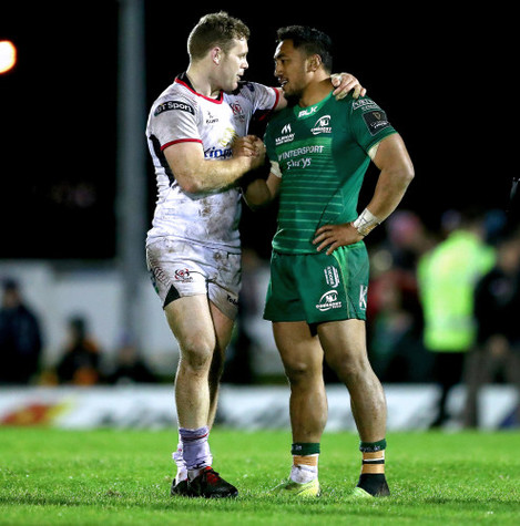 Darren Cave and Bundee Aki after the game