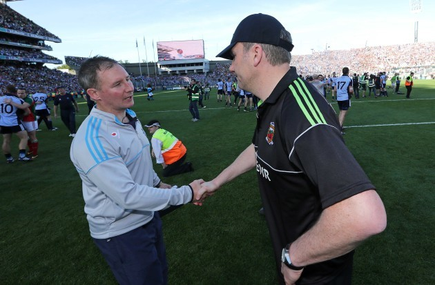 Jim Gavin shakes hands with James Horan after the game