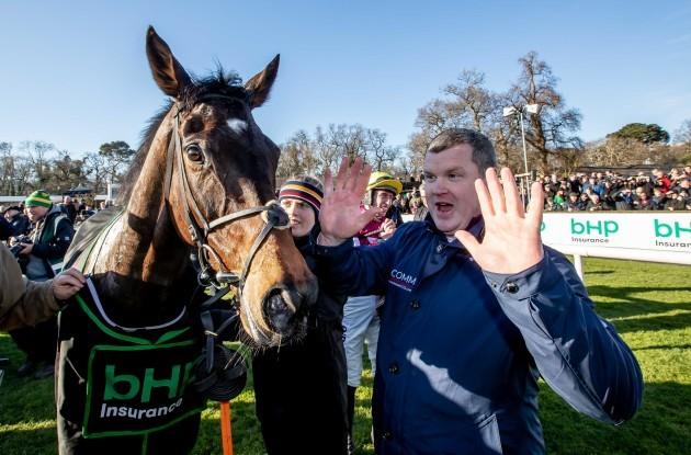 Gordon Elliott and Jack Kennedy celebrate winning the race with Apple's Jade