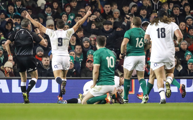 Ben Youngs celebrates Henry Slade scoring their fourth try