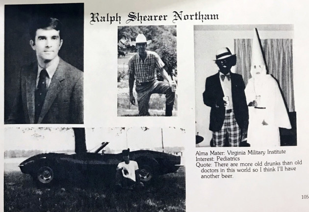 Virginia governor's yearbook page shows men in blackface and KKK robe