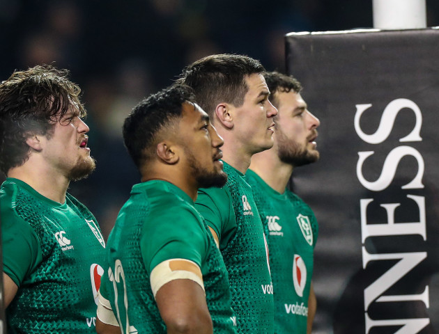 Andrew Porter, Bundee Aki, Jonathan Sexton and Robbie Henshaw after an England try