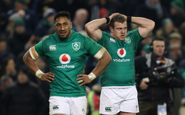 Bundee Aki and Sean Cronin dejected after the game