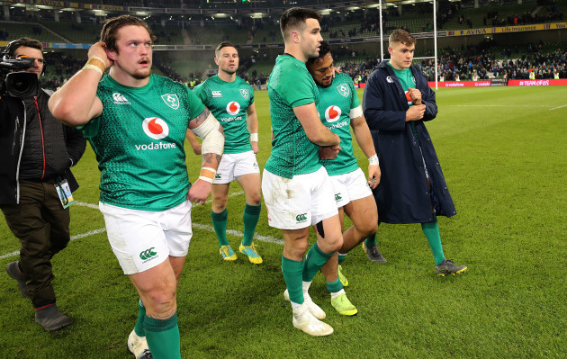 Andrew Porter, John Cooney, Conor Murray, Bundee Aki and Garry Ringrose dejected after the game