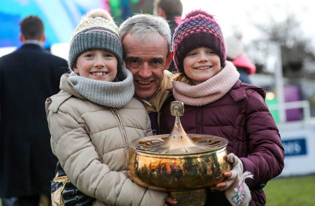 Ruby Walsh celebrates with daughters Isabelle and Elsa