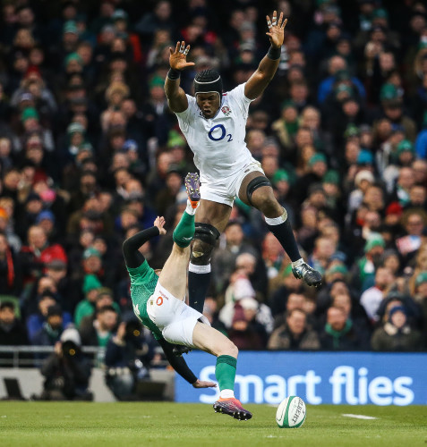 Maro Itoje collides with Keith Earls