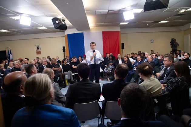 Emmanuel Macron Hosts The Grand Debat National - Evry
