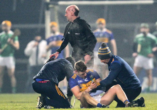 Dan McCormack is treated for an injury