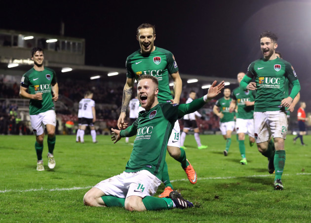 Kevin O'Connor celebrates scoring their second goal from a free kick with Karl Shepard and Sean Maguire