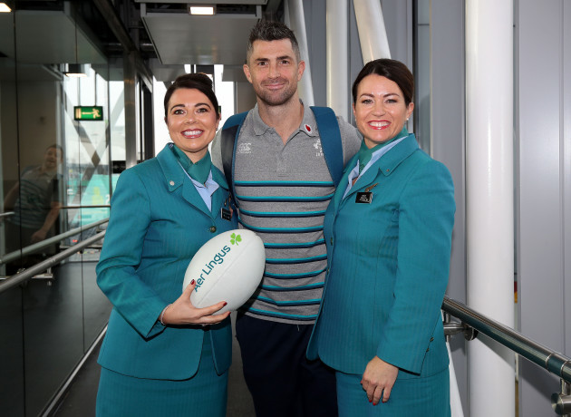 Sarah Solheim and Joanne Mullarkey with Rob Kearney