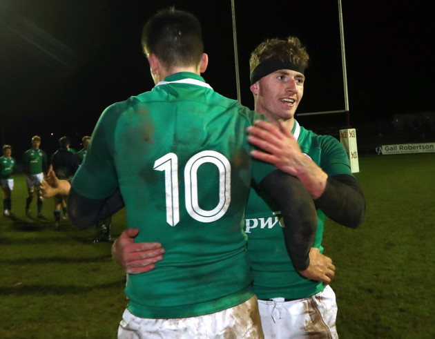 Harry Byrne and Jonathan Wren celebrate