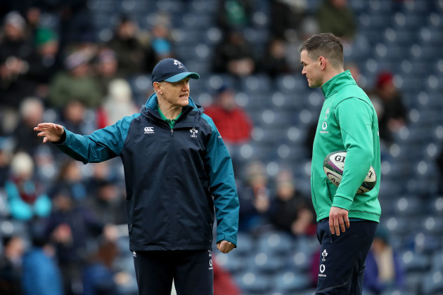 Jonathan Sexton with Joe Schmidt before the game