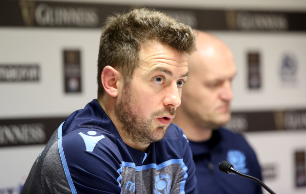 Greig Laidlaw during the post match press conference