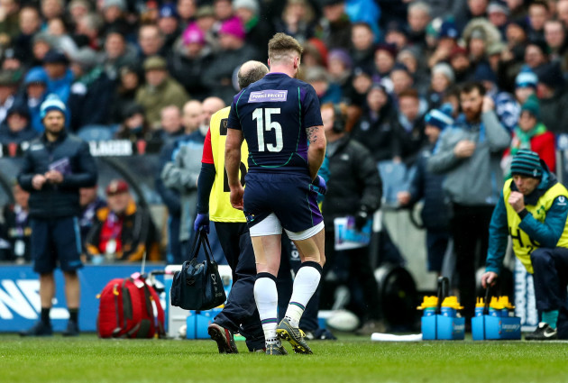 Stuart Hogg leaves the pitch injured