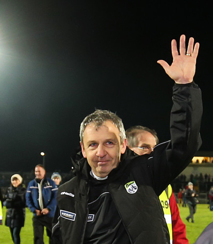 Peter Keane celebrates after the game
