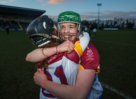 Grace O'Brien and Aoife Keane celebrate after the game