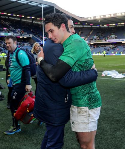 Joey Carbery celebrates winning with Johann van Graan