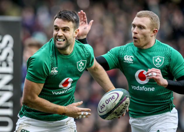 Conor Murray celebrates scoring a try