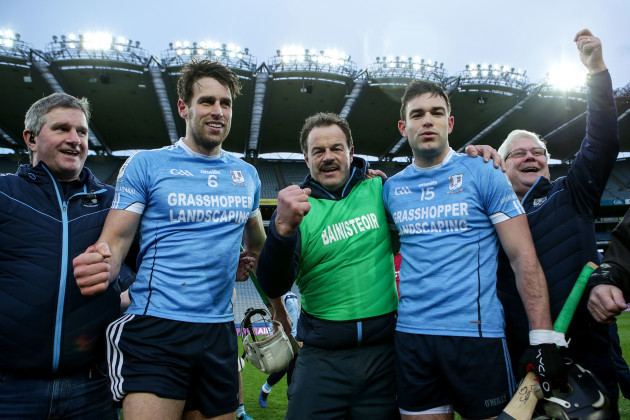 Gerry McInerney celebrates with Gearoid McInerney and Sean McInerney