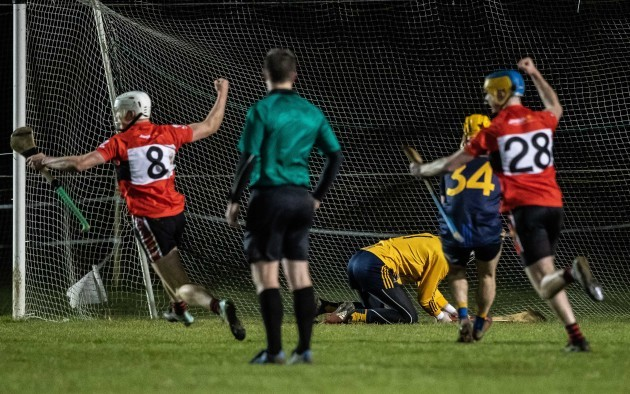 Conor Browne and Dara Walsh celebrate a winning penalty in the last seconds of extra-time