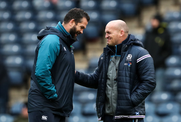 Andy Farrell with Gregor Townsend before the game