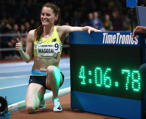 Ciara Mageean celebrates breaking the Irish Indoor record