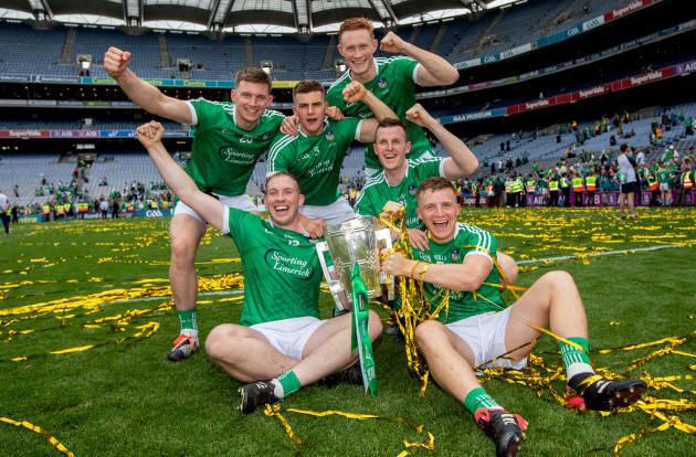 Kevin Downes, Mike Casey, William O'Donoghue, Shane Dowling, David Dempsey and Peter Casey all from Na Piarsaigh GAA celebrate