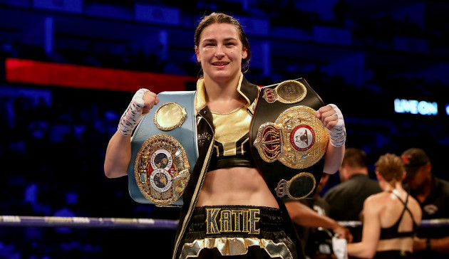 Katie Taylor with her WBA and IBF belts