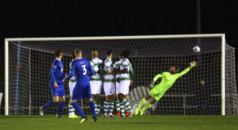Kevin Lynch bends the ball past Alan Mannus to score