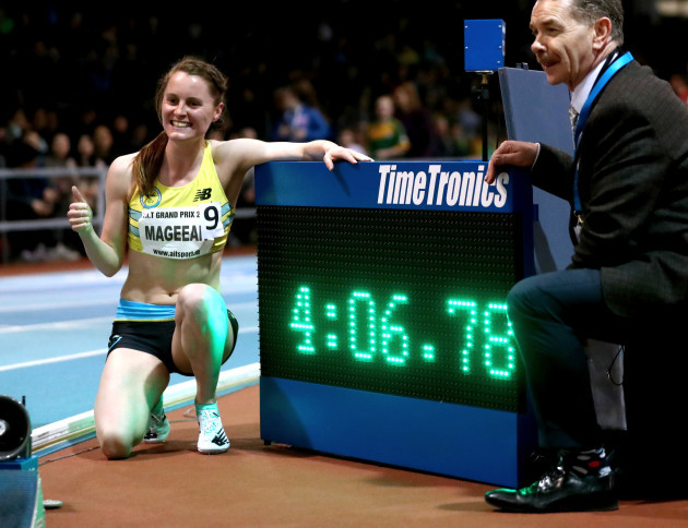 Ciara Mageean celebrates breaking the Irish Indoor record