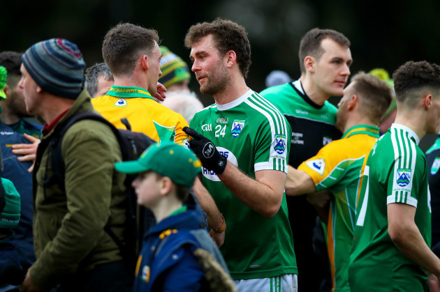 Ronan Steede with Eamonn Mac Aoidh at the final whistle