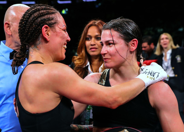 Katie Taylor and Eva Wahlstrom after the fight