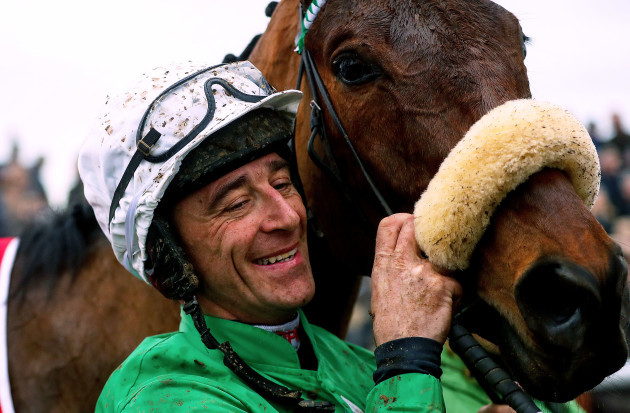 Davy Russell celebrates winning with Presenting Percy