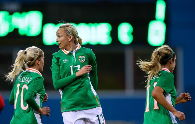 Stephanie Roche celebrates scoring a goal