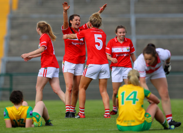 Eimear Meaney celebrates at the final whistle with Maire O'Callaghan