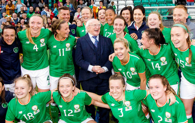 Michael D. Higgins with The Republic of Ireland Womens' team