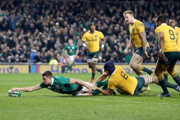 Garry Ringrose scores his sides second try
