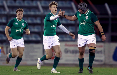 Ireland players celebrate a try