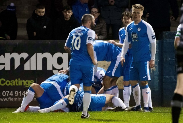 Finn Harps celebrates their sides first goal