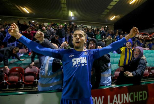 Zak Elbouzedi celebrates scoring a goal