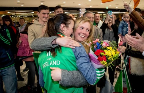 Kelly Harrington is greeted by her partner Mandy Loughlin