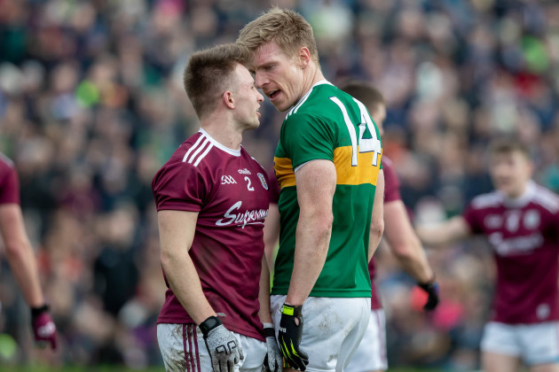 Eoghan Kerin and Tommy Walsh exchange words during the game